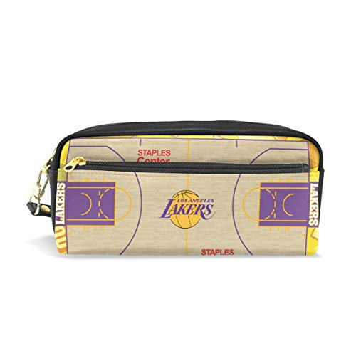 Leather Pen Case Pencil Bag Case with Lakers Basketball Court Stationery Pouch Cosmetic Makeup Bag