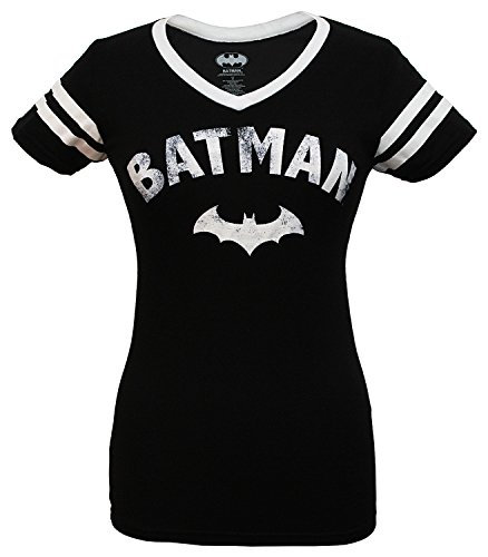 Batman Logo with Bat Varsity V-Neck T-Shirt (L)