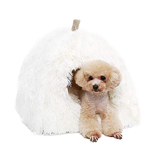 Speedy Pet Puppy Cat Tent Bed, White Ultra Soft Plush Warm Dogs Cats Rabbits Cozy Cave Bed with Removable Mat Cushion for Small Pets