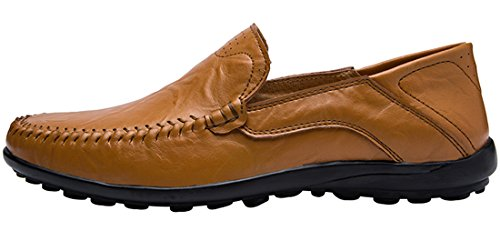 Jions Mens Dress Shoes Driving Mocassini In Pelle Mocassini Slip-on Casual Scarpe Da Barca B - Marrone