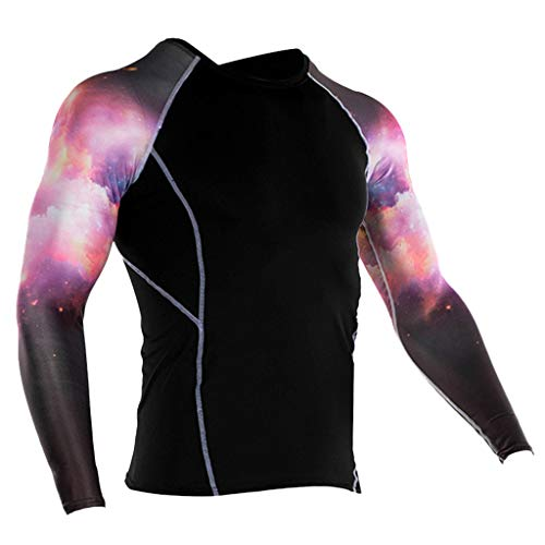 Outique Men's Compression Sports Fitness Shirt,Fashion Yoga Soft T-Shirt Quick-Drying Printing Top Blouse Jacket Gym Pink ()