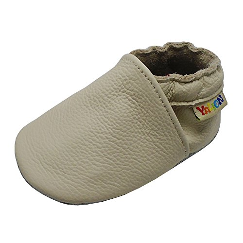 Yalion Baby Boys Girls Shoes Crawling Slipper Toddler Infant Soft Leather First Walking Moccs(Beige,0-6 Months)
