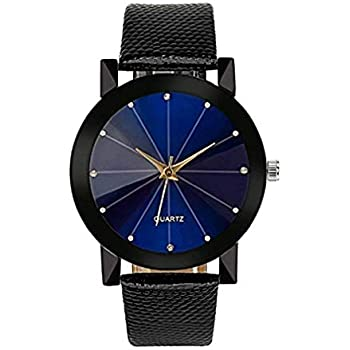 Noopvan Womens Ladies Teen Girls Fashion Dress Wrist Quartz Watch with Black/Blue FaceDial Leather Band Casual Simple Analog Quartz Watches Classic ...