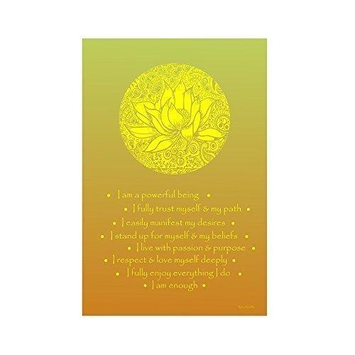 Affirmations Series- Solar Plexus Chakra Yellow Lotus - Large Chakra Posters,Healing Poster,Yoga Poster,Meditation Poster,Chakra Poster,Poster Meditation,Reiki Poster,Affirmation Poster,chakras poster by KalaaWorks - Handmade By Kalaa Kreatika