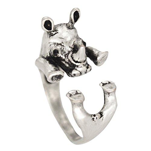 (Enhanced Big Rhino Adjustable Animal Wrap Ring Vintage Silver Tone)