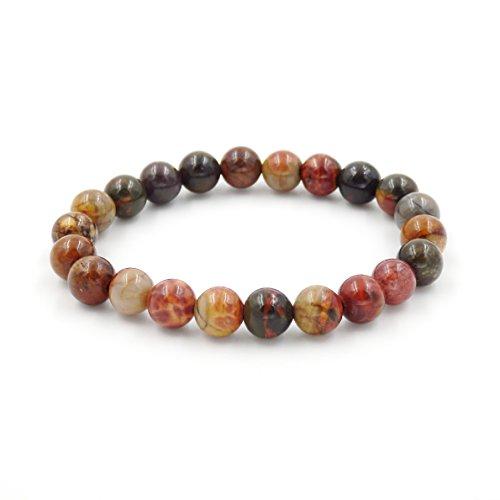 Picasso Bracelet Bead (Malahill Semirecious gemstone Healing Balance Stretch Bracelets, natural A grade (Red picasso jasper 8mm))