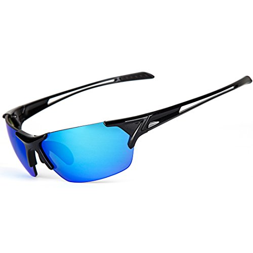 Shieldo Polarized Sports Sunglasses For Men And Women Running Cycling Fishing, Mirrored Integrated Polarized Lens Unbreakable Frame SLY002-1 (Blue-Black)