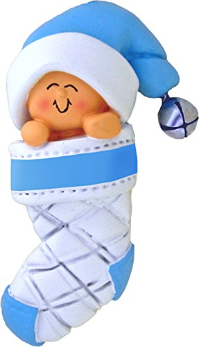 Baby's First Xmas Blue Boy in Stocking Xmas Tree Ornament - Engraving or Personalization Not Included