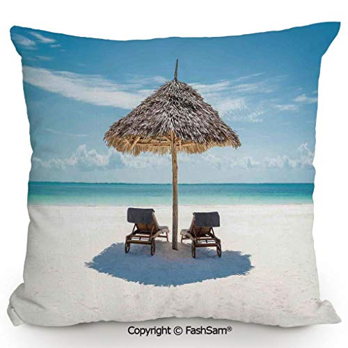 (Decorative Throw Pillow Cover Wooden Sun Loungers Facing Eastern Ocean Under a Thatched Umbrella in Zanzibar for Pillow Cover for Living Room(24