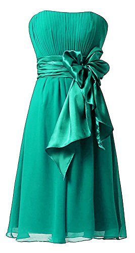 Women's Sweetheart Short Bridesmaid Dresses Chiffon Wedding Party Dress Jade US18W price tips cheap