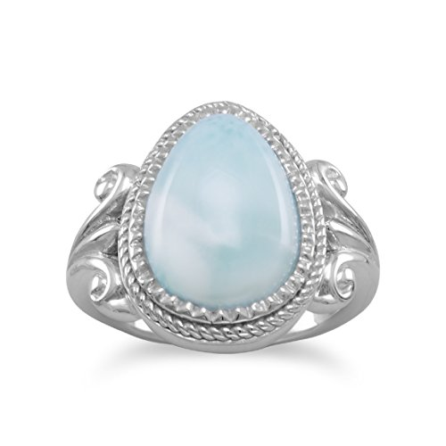 Sterling Silver Ring, 11x15mm Larimar, 3/4 inch wide, Sizes 6-10, Pear Shape (Larimar Pear Ring)