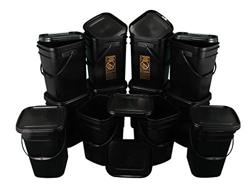 Black Rectangular Bucket 5.3-Gallon Bucket with Black Snap-on Lid, 12 Pack