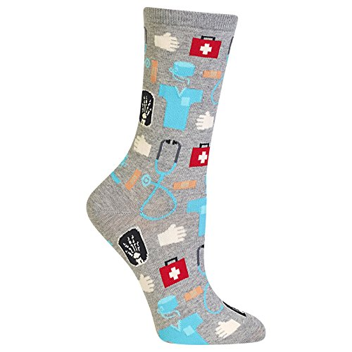 Hot Sox Women's Nurse and Doctor Medical Crew Socks, Grey