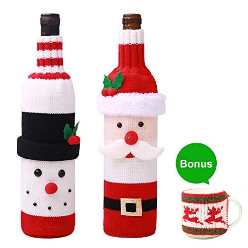 2 Pack Christmas Wine Bottle Cover, Sweater Ugly Wine Cover Santa and Snowman Red Wine Bottle Bag for Christmas & New Year Party with Free Gift- Mug Cover