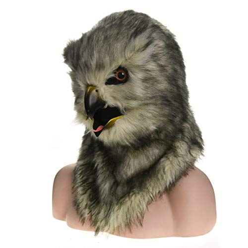 Faddish Animal Mask Premium Head Neck Animal Masks Factory Direct Selling Fur Halloween Moving Mouth Mask Owl Simulation Animal Mask Game Mask Dress Up Mask (Color : Grey)