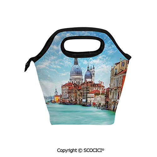 (Lightweight Portable Picnic tote lunch Bags Grand Canal and Basilica Santa Maria della Salute Historical Architecture lunch bag for Employee student Worker.)