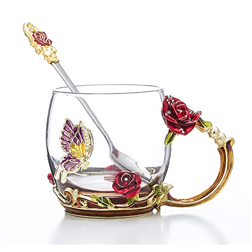 COAWG Glass Tea Cup with Spoon, Enamel Lead Free Handmade Rose Flower and Butterfly Clear Glass Coffee Mugs Glass Cup with Handle, Unique Christmas Birthday Gift for Women Mom Grandma(Red-11oz)