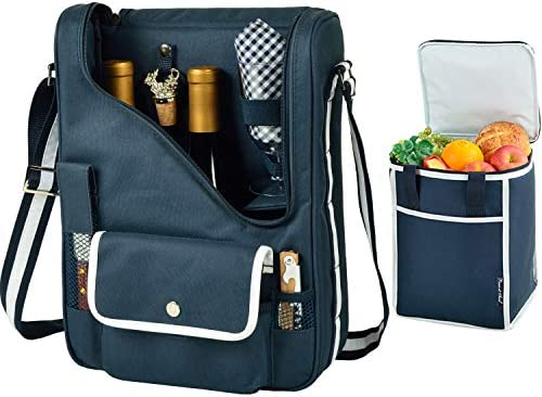 Picnic at Ascot Original Wine and Cheese Tote for 2Matching Cooler - Designed & Assembled in California - Navy