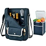 Picnic at Ascot Original Wine and Cheese Tote for 2 with Matching Cooler - Designed & Assembled in California - Navy