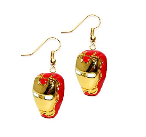 Marvel Iron Man Red & Gold Mask Logo Dangle Earrings Gift Box Included