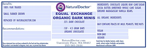 ORGANIC DARK CHOCOLATE MINIS (55%) COUNTERTOP DISPLAY 3 Fair Trade Organic Chocolate Minis