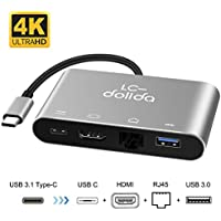 USB C To HDMI Hub, LC-dolida Type C to HDMI 4K Adapter with Gigabit Ethernet, Power Delivery Charging Port and USB 3.0 Port for New MacBook Pro 2016/2017, Samsung Galaxy S8/S8 Plus/Note 8
