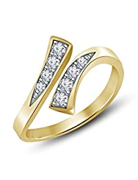 SilvernshineJewels 14K Gold Over White Sim Diamond Prong-Set Adjustable Bypass Toe Ring