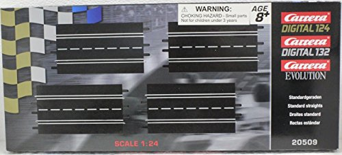 (Carrera 20509 Standard Straights Track Extension Pack for Digital 124/132, Evolution Slot Car Race Set (4)