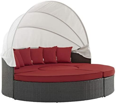 Modway Sojourn Outdoor Patio Sunbrella Sectional Daybed with Canopy in Canvas Red