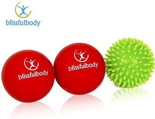 BlissfulBody Massage Yoga Ball Value Pack,with FREE Deep Massage Spiky Ball.Great for Muscle Tension and Pain Relief. Detail Instructions and Carrying Bag Included by BlissfulBody