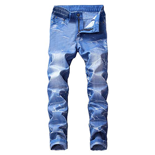 Creazrise Slim Fit Jeans, Men's Younger-Looking Fashionable Colorful Super Comfy Stretch Skinny Fit Denim Jeans (Blue,L)