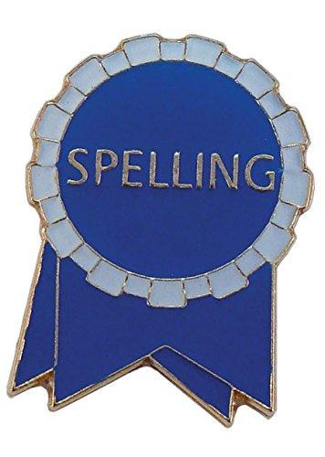 Pack of 500 Spelling Ribbon Lapel Pins (Blue/White)