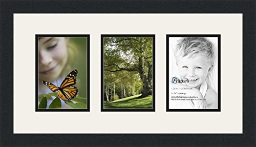 ArtToFrames Double-Multimat-24-61/89-FRBW26079 Collage Photo Frame Double Mat with 3-5x7 Openings and Satin Black Frame, Super White, 3-5x7