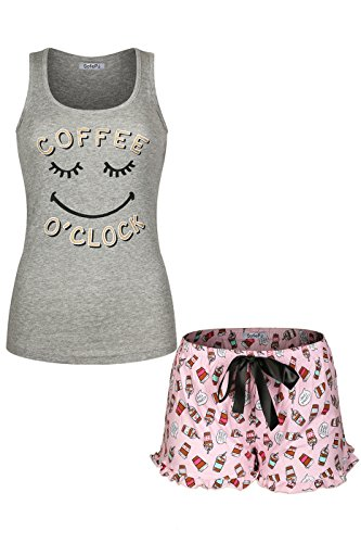 SofiePJ Women's Printed Cotton Pajama Set Jersey Racerback Tank Top with Short Pants Grey Pink S