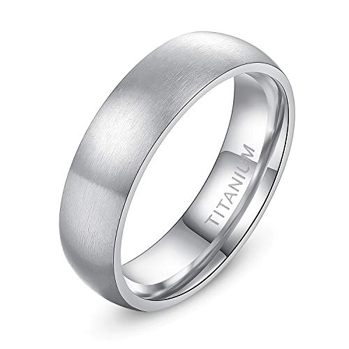 - TIGRADE 6mm Unisex Tungsten/Titanium Ring Brushed Dome Wedding Bands Comfort Fit Size 4-15 (Titanium, 12)
