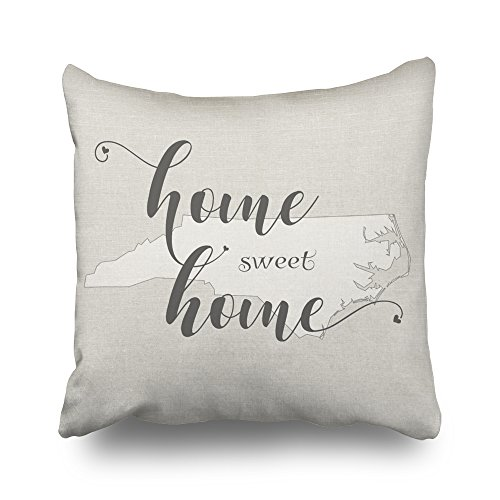 Carolina Decorative Pillow - Kutita 20 x 20 inch Throw Pillow Covers,North Carolina Home Sweet Home Burlap Look Pattern Double-sided Sofa Cushion Cover Couch Bed Pillowcase Home Gift Decorative Hidden Zipper Design