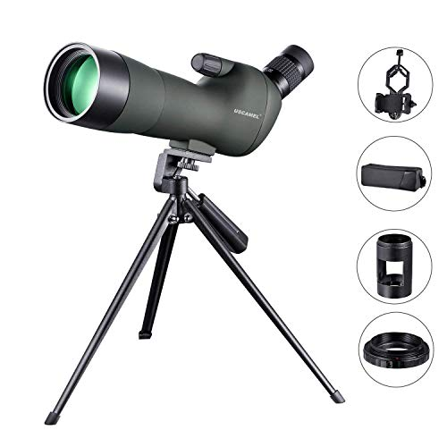USCAMEL Spotting Scope 20-60X60 Waterproof Birdwatching Monocular Telescope HD with Canon Adapter + Tripod for Archery, Safari Sightseeing, Stargazing, Camping