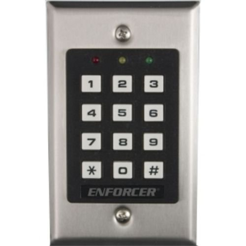 Seco-Larm SK-1011-SQ Indoor Access Control Keypad, 100 Unique 4~8 Digit Codes, One Output: Form C Relay Output (5A@28VDC), Stainless-steel Ffaceplate, Easily Delete Individual Codes