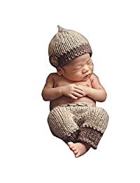 KINDOYO Photography Prop,Crochet Knit Hat Pants Outfit,Photo Prop Infant Costume for Your Lovely Baby Girl And Baby Boy
