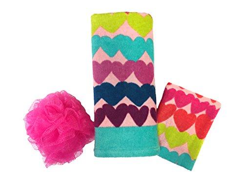 Limited Too 'Hearts So Sweet' 3 Piece Spa/Bath Cotton Gift Set (Set Heart)