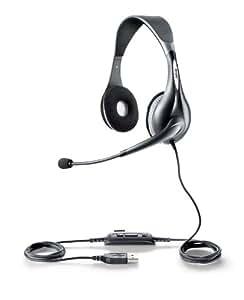Jabra UC VOICE 150 MS Duo - Auriculares con micrófono USB (control remoto integrado), gris