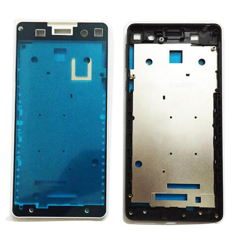Front Bezel Housing LCD Frame for Sony Xperia E5 F3311 F3313 Front Bezel with Side Button Key (White) ()