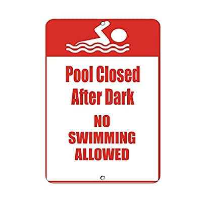 Teisyouhu Metal Room Sign Pool Closed After Dark No Swimming Allowed Activity Sign Aluminum Wall Poster Yard Fence Decor Sign Gift