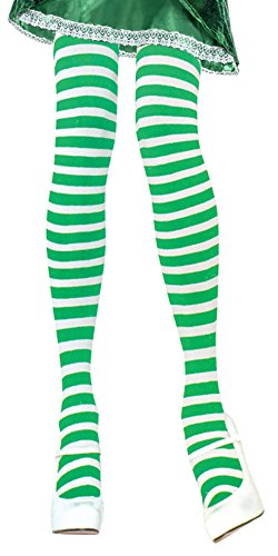 [Green and White Striped Tights Green Striped Tights Women Elf Tights Green] (Elf Outfit For Women)