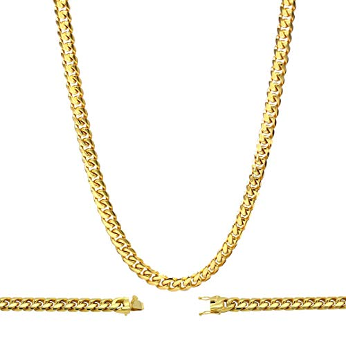 BEBERLINI Cuban Link Necklace 18k Gold Plated with Box Clasp Miami Chain Stainless Steel Fashion Jewelry 10 mm 30