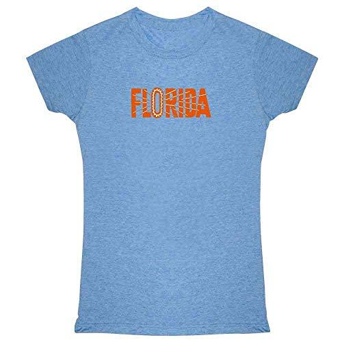 Florida State Retro Vintage Travel Heather Blue L Womens Tee ()