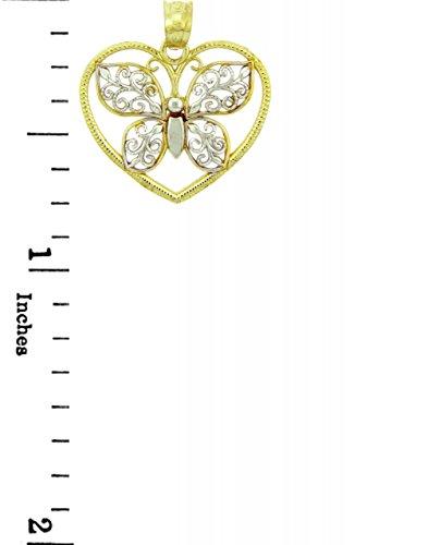 10 ct 471/1000 Deux-Tons Or Papillon u Coeur- Pendentif