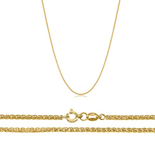 - Orostar 14K Solid Yellow Gold 0.7mm Diamond Cut Wheat Chain (16)