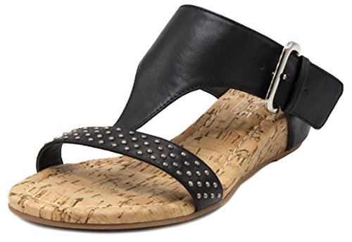 Rampage Women's Sheryl T-Bar Cork Wedge Dress Sandal With Studs and Buckle Closure (Sandals T-bar Wedge)