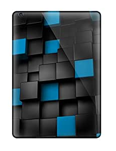 High Grade Xianshishop Flexible Tpu Cases For Ipad Air - Black And Blue Cubes